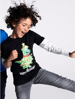 M&Co Dinosaur Christmas t-shirt (3-12yrs)