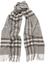 Burberry Checked Cashmere Scarf - Gray