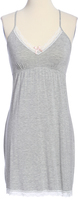 Gray Lace-Trim Keyhole Nightgown