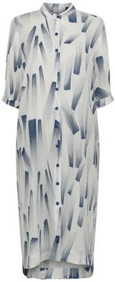 Gershon Bram - Colombia Blue & White Shirtdress B21031 - Small (S)
