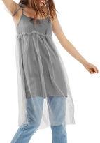 Topshop PETITE Mesh Overlay Midi Dress