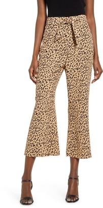 Leith Leopard Print Tie Front Crop Flare Pants