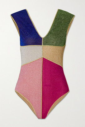 Oseree Color-block Stretch-lurex Swimsuit - Pink