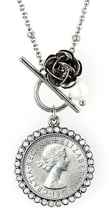 American Coin Treasures Lucky British Sixpence and Rose Toggle Pendant