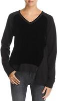 Wilt Asymmetric Velvet-Front Sweatshirt