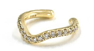 BONDEYE JEWELRY Wave 14k Gold Diamond Ear Cuff, Single