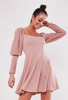 Missguided Blush Puff Sleeve Milkmaid Corset Skater Dress