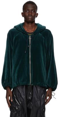 Telfar Green Velour Zip-Up Hoodie