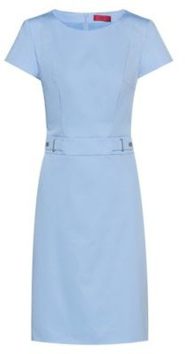 HUGO BOSS Stretch-cotton shift dress with waistband hardware
