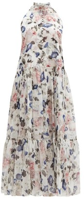 Erdem Julianne Apsley Floral-print Silk-voile Midi Dress - Womens - White Print