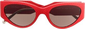 Salvatore Ferragamo Eyewear Leather Oversized Sunglasses