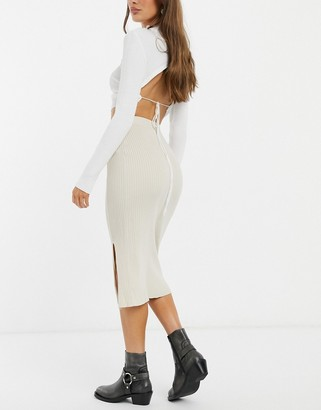 Monki Loa knitted midi skirt with slit in beige