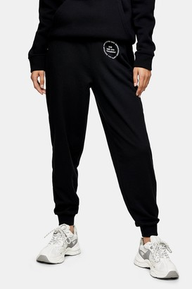 Topshop Womens 2Nd Life Graphic Print Joggers In Black - Black