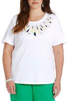 Allison Daley Plus Crewneck Embellished Short-Sleeve Knit Top