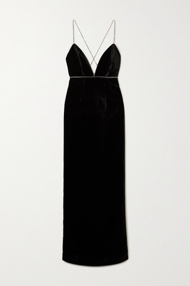Michael Lo Sordo Swarovski Crystal-embellished Velvet Gown - Black
