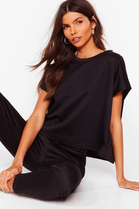 Nasty Gal Womens Relaxation Station Relaxed Tee and Joggers Set - Black - S/M