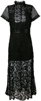 John Richmond leather trim lace dress - women - Leather/Polyester - S