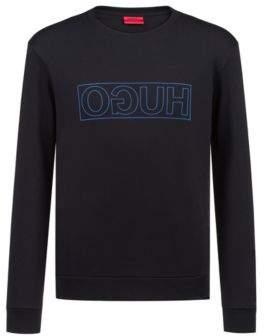HUGO Crew-neck sweatshirt in pure cotton with reverse logo