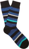 Pantherella Salton striped cotton-blend socks