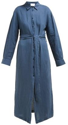 ASCENO Tie-waist Linen-pop Shirtdress - Navy