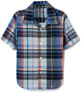 Plaid short sleeve pocket shirt