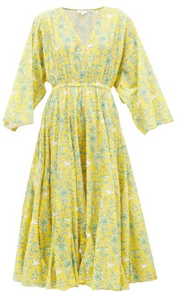 Rhode Resort Emily Swallow & Floral-print Cotton Midi Dress - Womens - Yellow Print