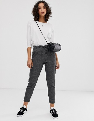 Only check pants with tie waist in dark gray