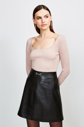 Karen Millen Long Sleeve Knitted Rib Square Neck Top