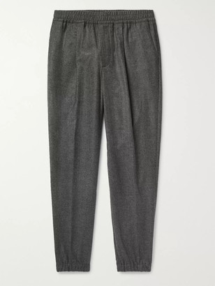 Loro Piana Tapered Melange Wool And Cashmere-Blend Drawstring Trousers