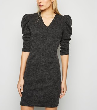 New Look Mela Ribbed Puff Sleeve Dress