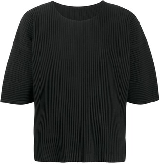 Homme Plissé Issey Miyake Short-Sleeved Pleat Detailing Top