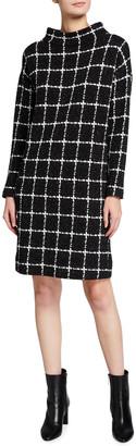 Akris Punto Textured Grid Mock-Neck Shift Dress