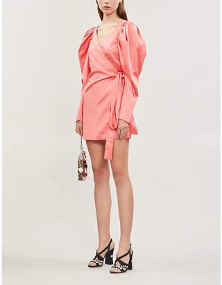 Rotate by Birger Christensen Leg-of-mutton-sleeve satin mini wrap dress