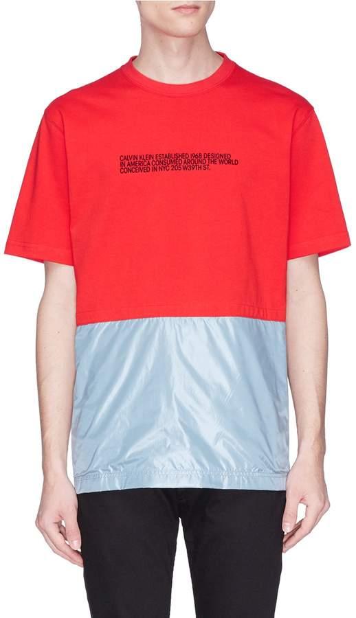 Calvin Klein Contrast panel slogan print T-shirt