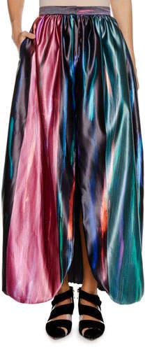 Giorgio Armani Multicolor Degrade Fluid Silk Skirt w/ Front Vent
