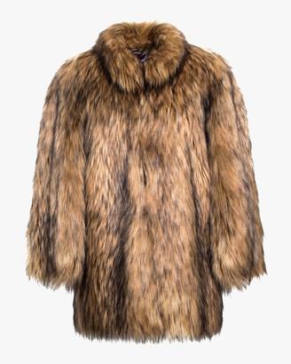 House Of Fluff Natural Yeti Faux Fur Cape Coat
