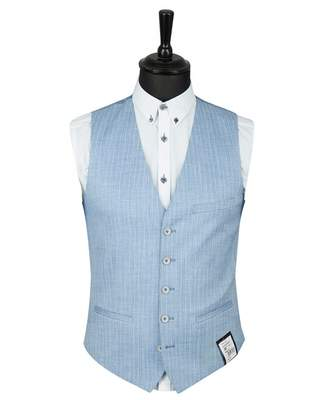 Remus Uomo Pinstriped Waistcoat Colour: BLUE, Size: 38