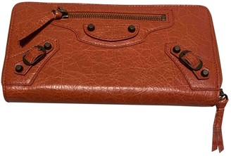 Balenciaga Orange Leather Wallets
