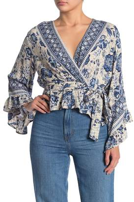 Angie Printed Faux Wrap Shirt