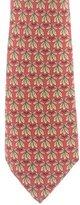 Hermes Owl Eyes & Leaves Print Silk Tie
