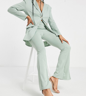 Asos Tall ASOS DESIGN Tall ponte 3 piece sporty suit flare pants in green
