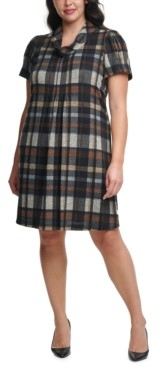 Jessica Howard Plus Size Plaid Cowlneck Dress