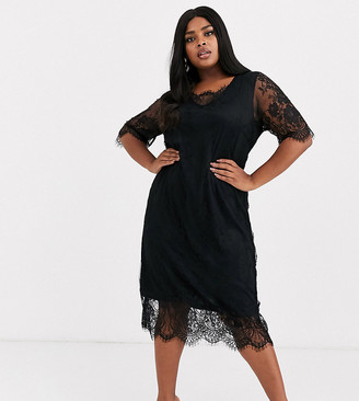 Junarose lace shift dress-Black