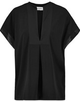 By Malene Birger Verzalio Silk-Trimmed Stretch-Crepe Top
