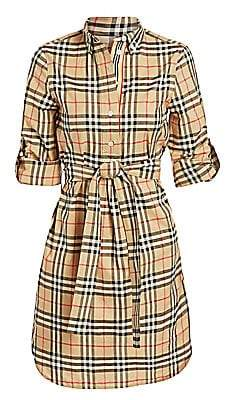 a0aa96acb0f9 Burberry Women's Giovanna Long Sleeve Belted Check Print Dress