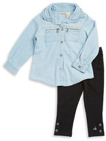 Calvin Klein Girls 2-6x Zip-Accented Shirt and Leggings Set