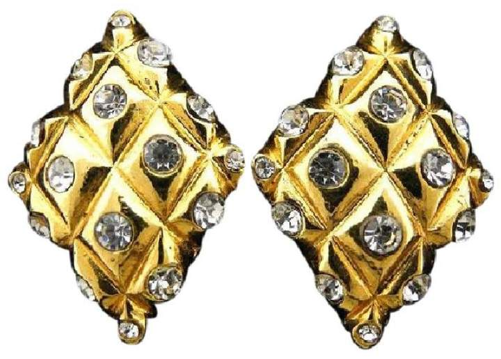 Chanel Gold Plated Quilted Diamond Crystal Earrings