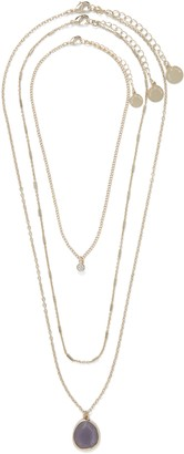 Forever New Isabelle Layered Stone Necklace - Mauve - 00