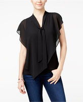 Amy Byer Juniors' Chiffon-Overlay Tie-Front Flutter Top