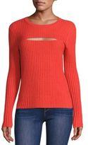 Frame Rib-Knit Cutout Sweater